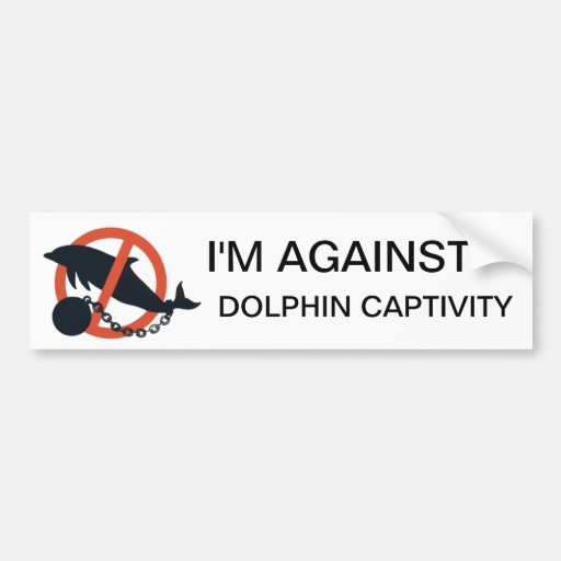 I'M AGAINST DOLPHIN CAPTIVITY BUMPER STICKERS