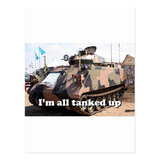 I'm all tanked up: armored military tank postcards