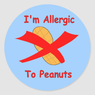 I'm Allergic to Peanuts Blue Sticker