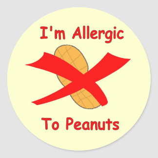I'm Allergic to Peanuts Stickers yellow