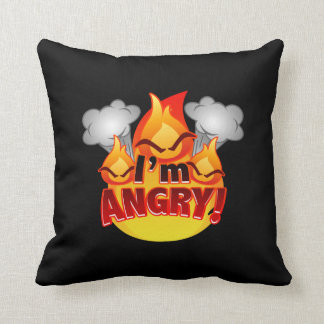 I'm Angry! black/red Throw Pillow