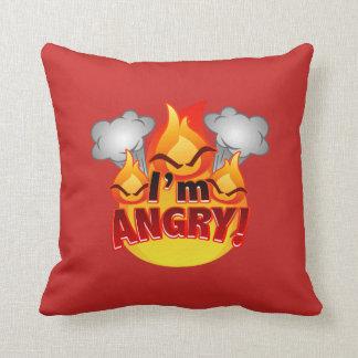 I'm Angry! red/black Throw Pillow