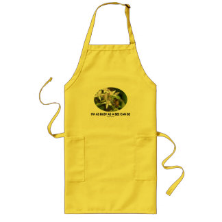 I'm As Busy As A Bee Can Be (Bee On White Flower) Long Apron