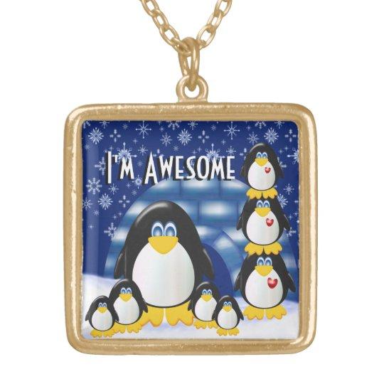 I'm Awesome!  - Large gold finish necklace