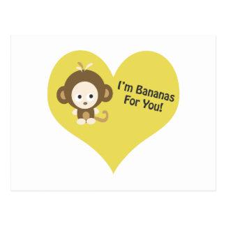 Im Bananas for You Monkey Postcard
