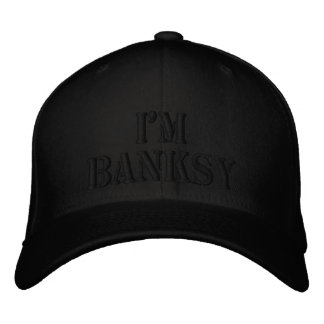 I'm Banksy Stencil Basic Black Flexfit Wool Cap Embroidered Cap