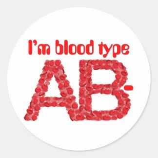 I'm blood type AB negative Classic Round Sticker