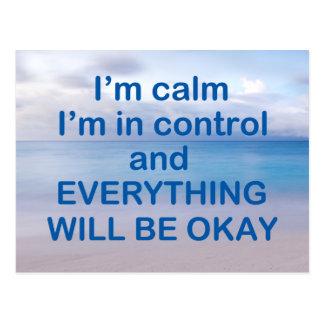 I'm Calm I'm in Control Postcard