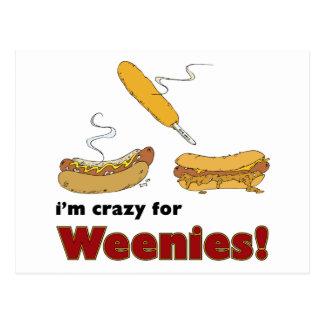 I'm Crazy For Weenies! Corn Chili Hot Dog Postcard