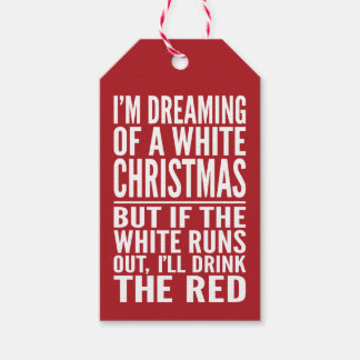 I'm Dreaming of a White or Red Wine Chrismtas Gift Tags