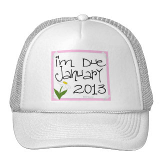 I'm Due January 2013 Pink Daisy, due date Hats