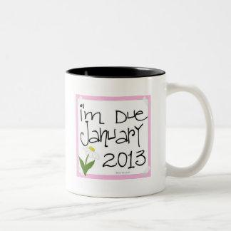 I'm Due January 2013 Pink Daisy, due date Coffee Mug