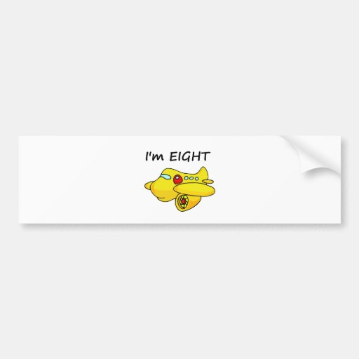 I'm Eight, Yellow Plane Bumper Stickers