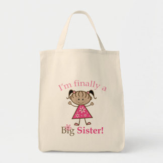 I'm Finally a Big Sister Ethnic Stick Figure Girl Grocery Tote Bag