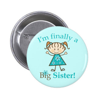I'm Finally a Big Sister Stick Figure Girl 6 Cm Round Badge