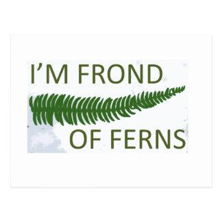'I'm frond of ferns' fern leaf design Postcard