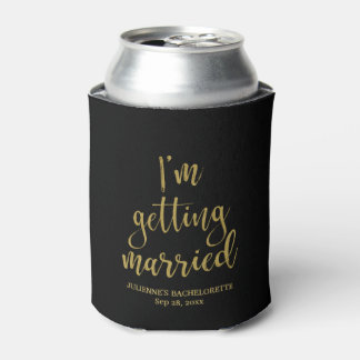I'm Getting Married Stylish Gold Glitter Bride Can Cooler