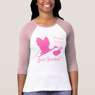 I'm Going To Be A Great Grandma Hot Pink Stork T-Shirt