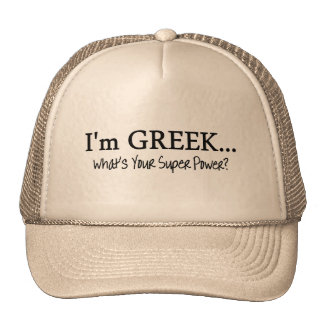 Im Greek Whats Your Super Power Mesh Hat