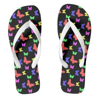 I'm Happy! dark butterfly Flip Flops