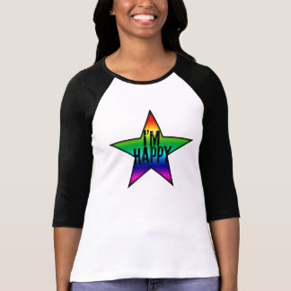 I'm Happy Gay Lesbian Rainbow Star Woman Tee