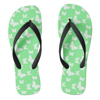 I'm Happy! green butterfly Flip Flops