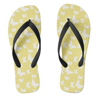 I'm Happy! yellow butterfly Flip Flops
