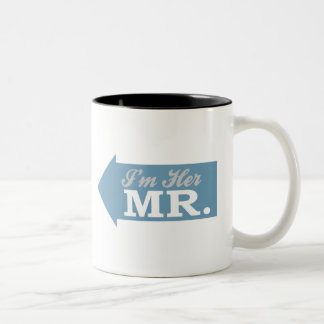 I'm Her Mr. (Blue Arrow) Two-Tone Coffee Mug
