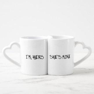 I'M HERS, SHE'S MINE LESBIAN COUPLE GIFT COUPLES' COFFEE MUG SET