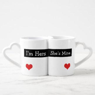 I'm Hers She's Mine Newly Wed Heart Wedding Coffee Mug Set