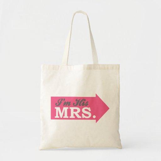 I'm His Mrs. (Hot Pink Arrow) Canvas Bag