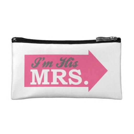 I'm His Mrs. (Hot Pink Arrow) Makeup Bags