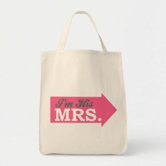 I'm His Mrs. (Hot Pink Arrow) Tote Bag