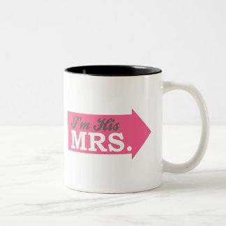 I'm His Mrs. (Hot Pink Arrow) Two-Tone Coffee Mug