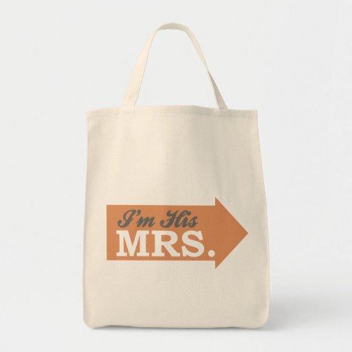 I'm His Mrs. (Orange Arrow) Tote Bag
