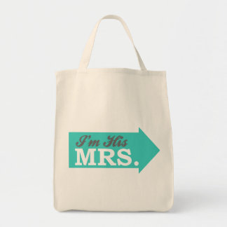 I'm His Mrs. (Teal Arrow) Tote Bags