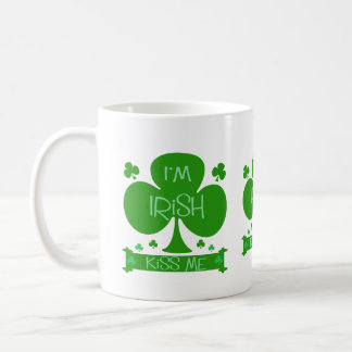 I'm Irish, Kiss Me, shamrocks mug
