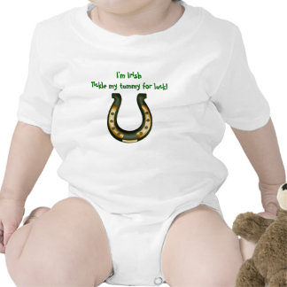 I'm Irish Tickle my tummy for luck St. Patrick Baby Bodysuits