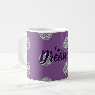 I'm just a dreamer rainbow circles design purple coffee mug