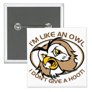 Im Like An Owl I Dont Give A Hoot Funny Saying 15 Cm Square Badge