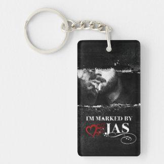 I'm Marked Keychain: Jas Double-Sided Rectangular Acrylic Key Ring