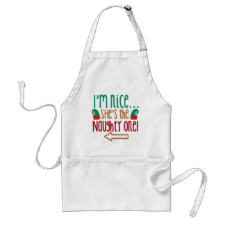 Im Nice Shes Naughty Elf Hat Apron