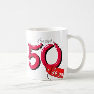 I'm Not 50 I'm 49.99 Bubble Text Basic White Mug