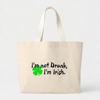 Im Not Drunk Im Irish 4 Leaf Clover Jumbo Tote Bag