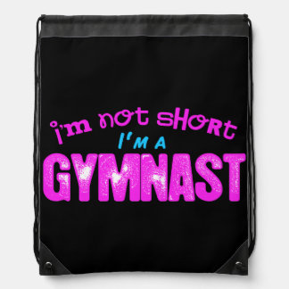 I'm Not Short, I'm a Gymnast Pink and Blue Drawstring Bag
