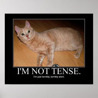 I'm not tense cat artwork poster