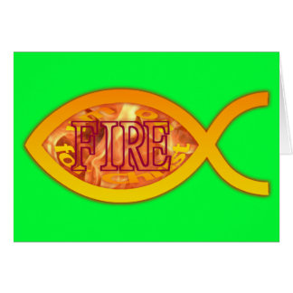 I'm on FIRE for Christ - Christian Fish Symbol Greeting Cards