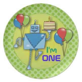 I'm ONE 1st Birthday Party Green Polka Dots Plates