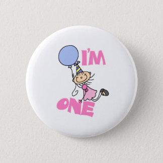 I'm One Stick Figure Girl Birthday 6 Cm Round Badge