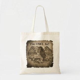 """""""I'm Owl In"""" (All In) Funny Poker Tote Bag"""